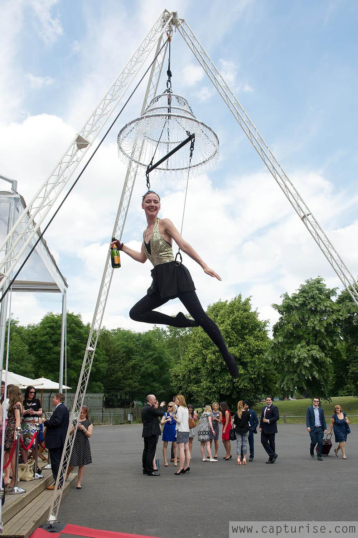 Aerial champagne waitress