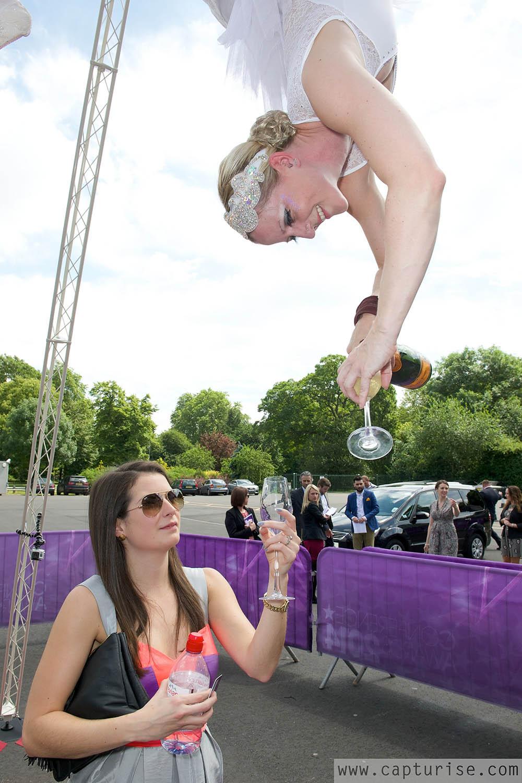 Champagne waitress aerial