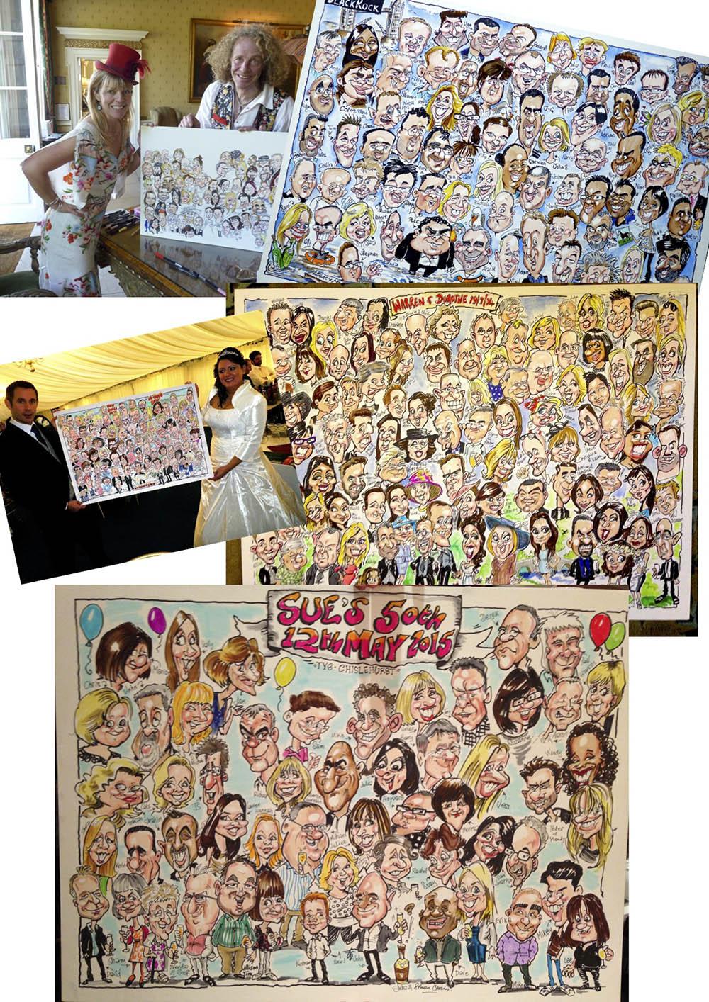 Group caricaturists sketch