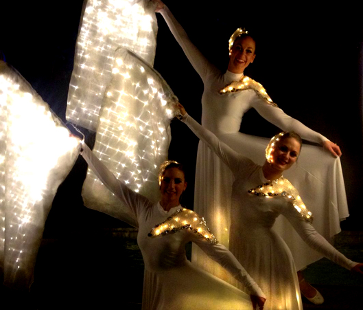 Light Emitting Dance with white Illuminated flags, Divine Company