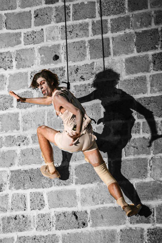 aerial, halloween, wall, acrobats