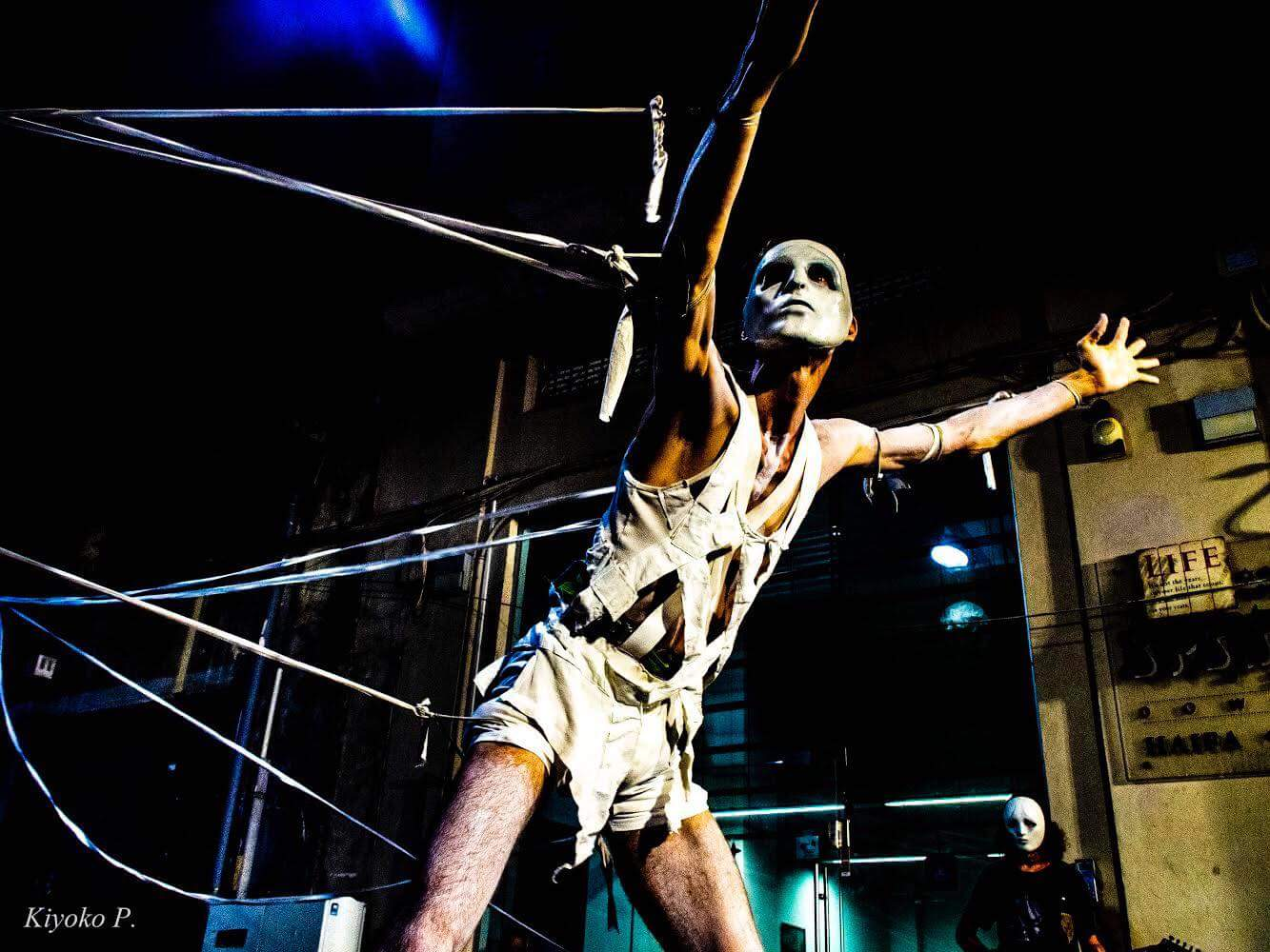 aerial, halloween, cage, performer, artist, street, theatre, tightrop, projection, dance, circus